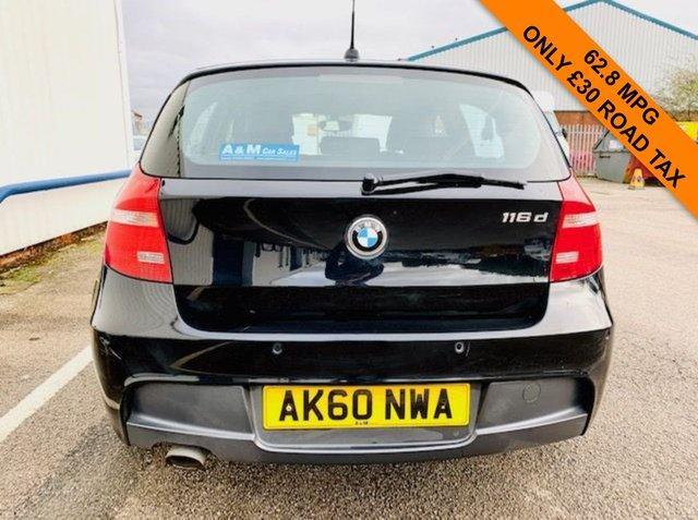 USED 2010 60 BMW 1 SERIES 2.0 116D M SPORT 5d 114 BHP ONLY £30 A YEAR ROAD TAX - 62.8 MPG - M SPORT ALLOY WHEELS AND STYLING - MOT SEPT 2021 - GOOD SERVICE HISTORY - 3 MONTHS WARRANTY