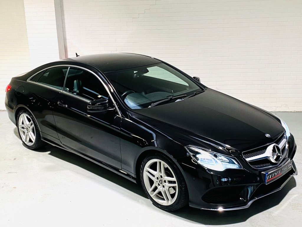USED 2014 63 MERCEDES-BENZ E-CLASS 2.1 E220 CDI AMG SPORT 2d 170 BHP Obsidian Black with Black Leather Interior, Low Mileage, AMG Pack