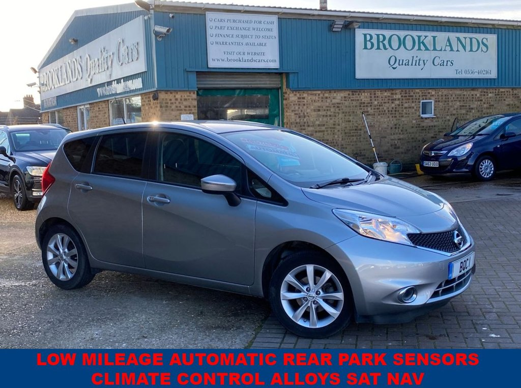 USED 2016 66 NISSAN NOTE 1.2 ACENTA PREMIUM DIG-S 5 Door Only 11540 miles Blade Silver Met. 98 BHP LOW MILEAGE AUTOMATIC SAT NAV REAR PARKING SENSORS CLIMATE CONTROL ALLOYS