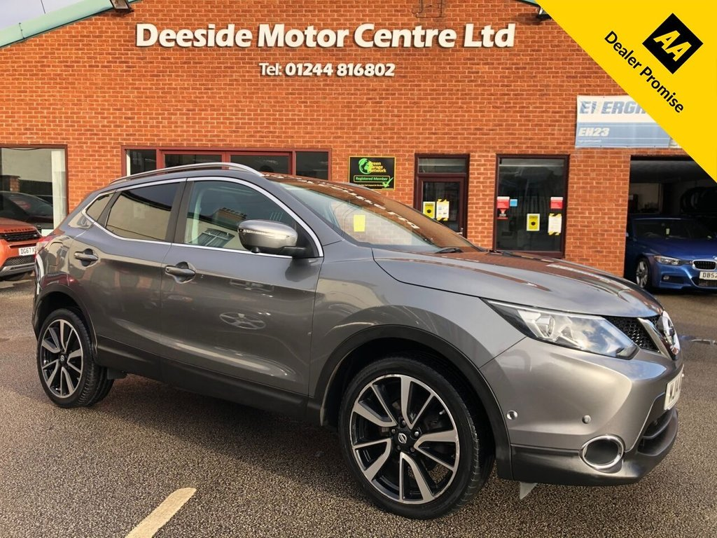 USED 2014 14 NISSAN QASHQAI 1.6 DCI TEKNA 5d 128 BHP Only £30 a year road tax : Full service history : 2 Keys : Fixed panoramic glass roof : Bluetooth : Sat Nav : DAB Radio :   Leather upholstery   :   Heated front seats   :   Heated screen   :   Electric driver's seat   :     Nissan Blind Spot   +   Lane Departure warning systems     :     Surround view camera     :   Front + rear parking sensors   :   Rear parcel shelf