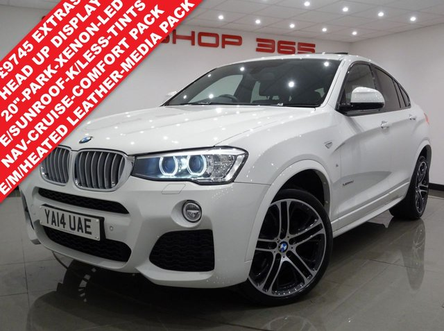 USED 2014 14 BMW X4 3.0 30D (258 BHP) M SPORT XDRIVE STEP AUTO 5DR..PRO NAV..HEAD UP DISPLAY..E/M/HEATED LEATHERS..COMFORT PACK..CRUISE..E/SUNROOF..XENONS..PARK AID..PRIVACY 20 S+SUNROOF+XENON+TINTS+LEATHER+NAV+CRUISE+HEAD UP