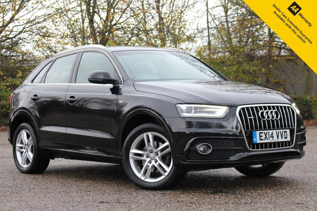 USED 2014 14 AUDI Q3 2.0 TDI QUATTRO S LINE 5d 138 BHP ** SUPERB LOW MILEAGE EXAMPLE IN PERFECT CONDITION ** FULL SERVICE HISTORY ** BRAND NEW MOT ** UPGRADED SAT NAV SYSTEM ** UPGRADED FRONT + REAR PARKING AID ** UPGRADED CRUISE CONTROL ** AUTO LIGHTS + WIPERS ** DUAL ZONE CLIMATE CONTROL ** BLUETOOTH ** LOW RATE £0 DEPOSIT FINANCE AVAILABLE ** CLICK & COLLECT AVAILABLE ** NATIONWIDE DELIVERY AVAILABLE **