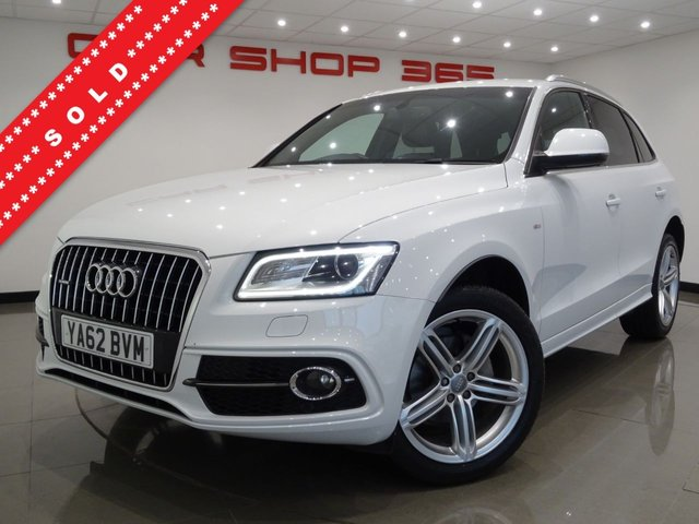 USED 2013 62 AUDI Q5 2.0 TDI (175 BHP) S LINE PLUS QUATTRO S TRONIC..NAV..HEATED LEATHERS..CRUISE..XENONS..PARK..POWER BOOT XENON-LED+PARK+TINTS+HEATED LEATHR+NAV+CRUISE+MEDIA