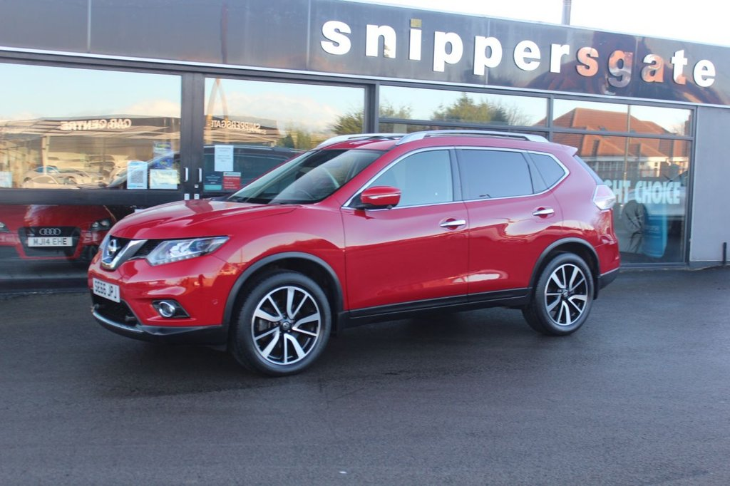 "USED 2017 66 NISSAN X-TRAIL 1.6 DIG-T TEKNA 5d 163 BHP Bright Red X-Trail Tekna, 1 Owner, Heated Black Leather Seats, Front and Rear Parking Sensors, Around View Monitor, Panoramic Sunroof, 7 Seater, Satellite Navigation, Electric SeatsDual Zone Air Conditioning, 19"" Alloy Wheels, Automatic Lights, Bluetooth, Tyre Pressure Monitoring, Lane Departure Warning, LED Daytime Running Lights, Service History."