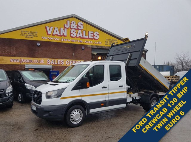 USED 2017 67 FORD TRANSIT TIPPER 130 BHP EURO 6 CREW CAB TIPPER VAN BIG STOCK EURO 6 TIPPERS  OVER 100 ON SITE