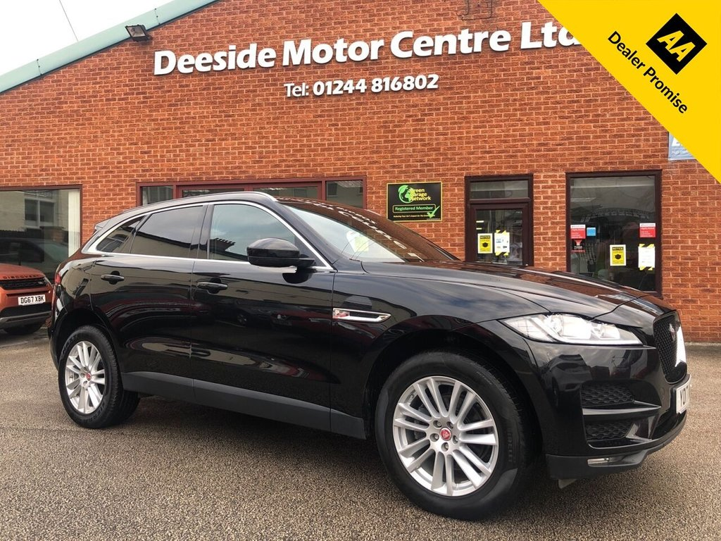 USED 2017 17 JAGUAR F-PACE 2.0 PORTFOLIO AWD 5d 178 BHP Panoramic sliding sunroof : Bluetooth : Sat Nav : DAB Radio : Full leather upholstery : Electric/Heated front seats : Heated front screen + steering wheel : Air-conditioning/Climate control : Meridian sound : Rear view camera : Front + rear parking sensors : Remotely operated tailgate