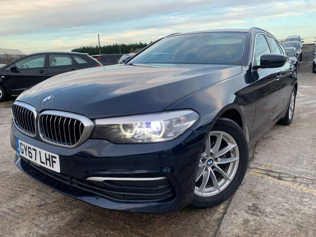 """USED 2017 67 BMW 5 SERIES 2.0 520D SE TOURING 5d 188 BHP 2 KEYS+1 OWNER FROM NEW+FSH+NEW SHAPE+17""""ALLOYS+LEATHER TRIM+CLIMATE+CRUISE+PRIVACY GLASS+PARKING SENSORS+NAVIGATION SYSTEM+MEDIA+BLUETOOTH+USB+AUX+DAB+"""