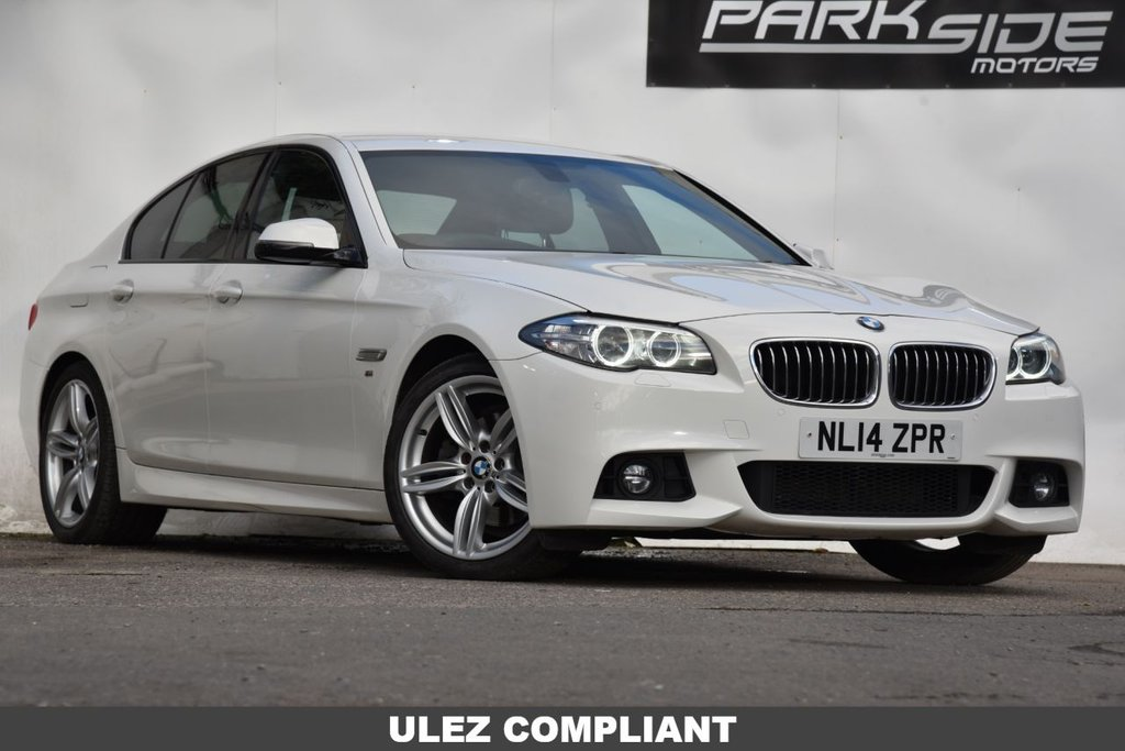 USED 2014 14 BMW 5 SERIES 2.0 520D M SPORT 4d 181 BHP Automatic | ULEZ Compliant | White | Satellite Navigation | Service History | Park Assist | Climate | Leather |