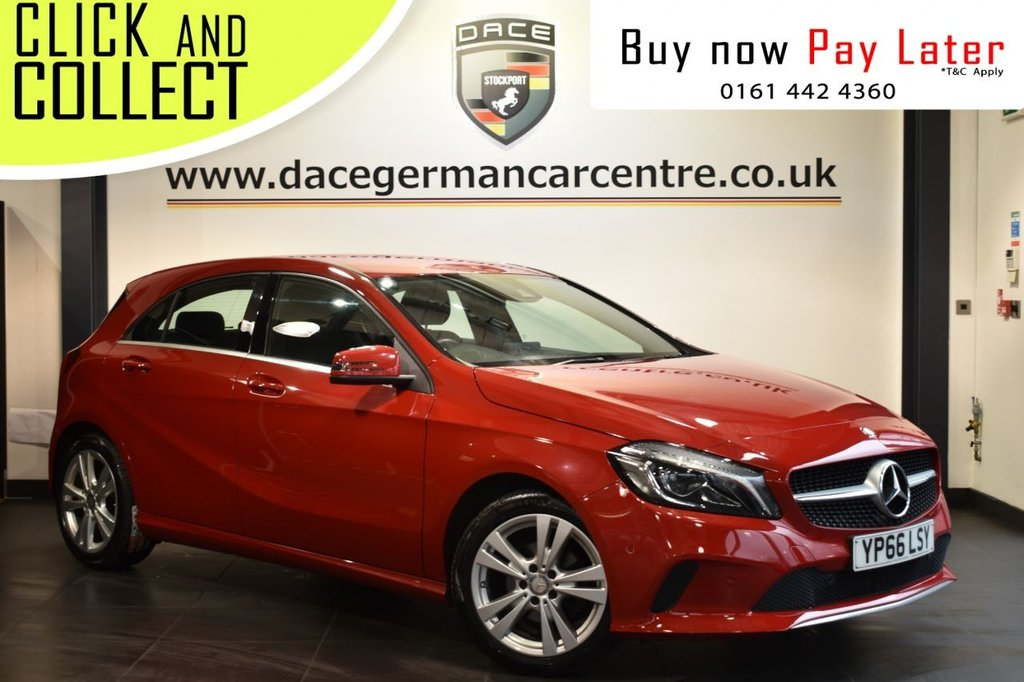 "USED 2016 66 MERCEDES-BENZ A-CLASS 1.5 A 180 D SPORT PREMIUM 5DR AUTO 107 BHP Finished in a stunning jupiter red styled with alloy wheels, Upon entry you are presented with full black leather interior, satellite navigation, bluetooth, reverse camera, smartphone integration/apple car play, cruise control, heated sport seats, ambient illumination, 8"" colour display interface, multi function steering wheel, seat comfort package, mirrors package, illumination package"