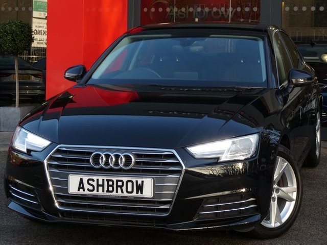 USED 2016 16 AUDI A4 1.4 TFSI SPORT 4d 150 S/S SAT NAV, AUDI SMART PHONE WITH APPLE CAR PLAY & ANDROID AUTO, REAR PARKING SENSORS, AUDI CONNECT, DAB RADIO, CRUISE CONTROL WITH SPEED LIMITER, LED DAYTIME RUNNING LIGHTS, BLUETOOTH PHONE & MUSIC STREAMING, 7 INCH 5 SPOKE ALLOYS, GREY CLOTH INTERIOR, SPORT SEATS, LEATHER MULTIFUNCTION STEERING WHEEL, LIGHT & RAIN SENSORS, AUDI DRIVE SELECT, FRONT & REAR ARM RESTS, KEYLESS START, WIFI, AUX INPUT, 2x USB PORTS, 3 ZONE CLIMATE AIR CON, ILLUMINATING VANITY MIRRORS, SERVICE HISTORY, VATQ