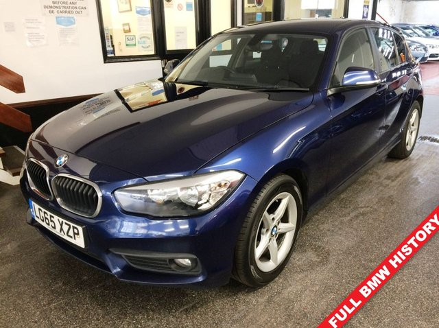 USED 2015 65 BMW 1 SERIES 1.5 116D ED PLUS 5d 114 BHP Full BMW Service History ! First of the new shape, ULEZ compliant and £0 Tax!! This 116d ED + is finished in Metallic Mediterranean with Black cloth seats. It is fitted with power steering, BMW Navigation and media pack, 2 keys remote locking, electric windows and mirrors, climatic air conditioning, rear parking sensors, LED Daylights, auto lights and wipers, day lights, Bluetooth, Alloy wheels, DAB CD Stereo with USB & Aux port and more. It has had 2 owners from new.