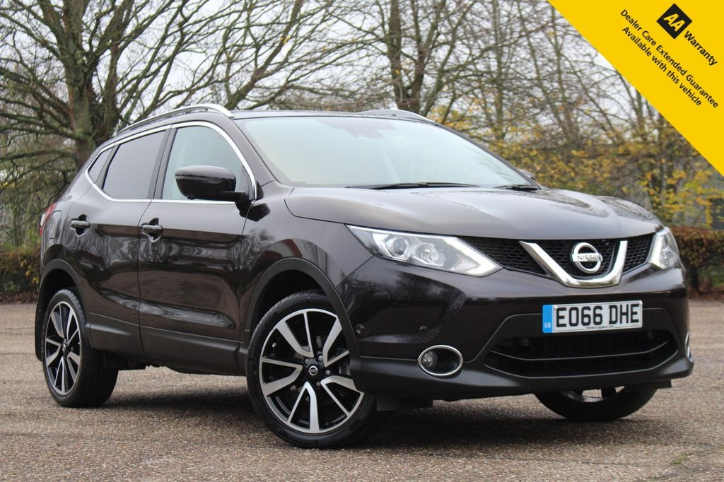USED 2016 66 NISSAN QASHQAI 1.6 TEKNA DIG-T 5d 163 BHP ** FULL NISSAN MAIN DEALER SERVICE HISTORY ** BRAND NEW ADVISORY FREE MOT ** SAT NAV ** PANORAMIC GLASS ROOF ** HEATED LEATHER INTERIOR ** 360 PARKING CAMERAS ** PARK ASSIST (CAR PARKS ITSELF) ** BLIND SPOT MONITOR SYSTEM ** CRUISE CONTROL ** BLUETOOTH ** AUTO LIGHTS + WIPERS ** POWER FOLD MIRRORS ** LOW RATE £0 DEPOSIT FINANCE AVAILABLE ** NATIONWIDE DELIVERY AVAILABLE **
