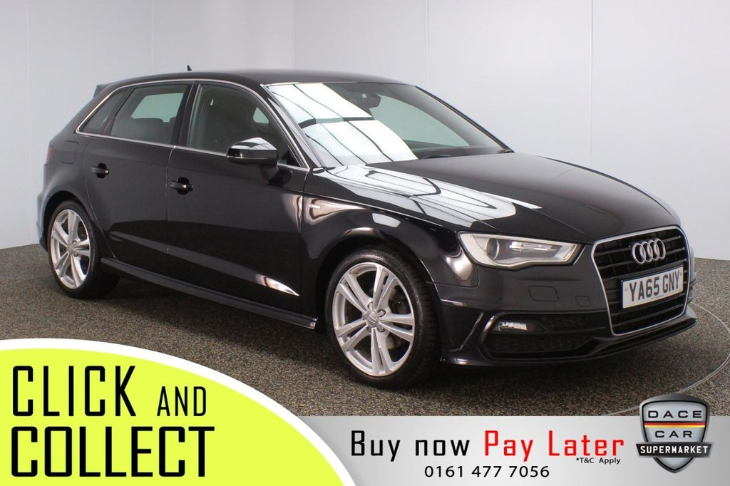 USED 2015 65 AUDI A3 2.0 TDI S LINE NAV 5DR 1 OWNER AUTO 148 BHP FULL AUDI SERVICE HISTORY + HALF LEATHER SEATS + PARKING SENSOR + BLUETOOTH + CLIMATE CONTROL + MULTI FUNCTION WHEEL + XENON HEADLIGHTS + ELECTRIC WINDOWS + ELECTRIC/HEATED/FOLDING DOOR MIRRORS + 18 INCH ALLOY WHEELS