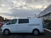 USED 2016 16 FORD TRANSIT CUSTOM 2.2 310 LIMITED L2 LWB Low Roof 6 Seat Double Crew Cab Panel Van with NO VAT TO PAY plus Sat Nav Air Con Rear Camera Tinted Glass Towbar Roofrack in Fantastic Condition.Recent Service plus MOT now Ready to Finance and Drive Away Today This brilliant 6 seater Ford Transit Custom will fit the whole team in!