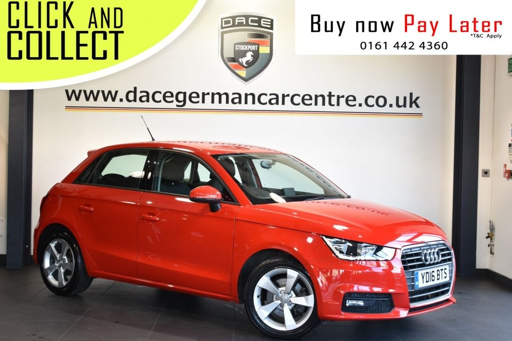 USED 2016 16 AUDI A1 1.4 SPORTBACK TFSI SPORT 5DR 123 BHP Finished in a stunning red styled with alloy wheels. Upon entry you are presented with full service history, half leather interior, bluetooth, multi function steering wheel, rain sensors