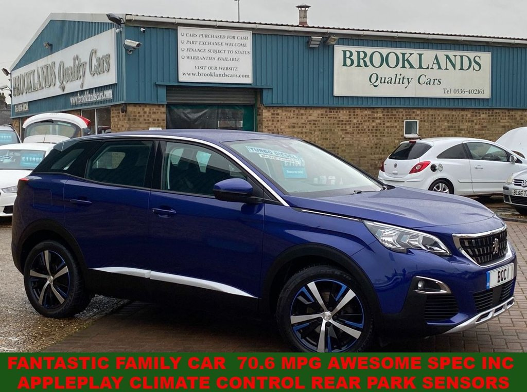 USED 2017 17 PEUGEOT 3008 1.6 BLUEHDI S/S ACTIVE MAGNETIC BLUE METALLIC 120 BHP FANTASTIC FAMILY CAR  70.6 MPG AWESOME SPEC INC APPLEPLAY CLIMATE CONTROL