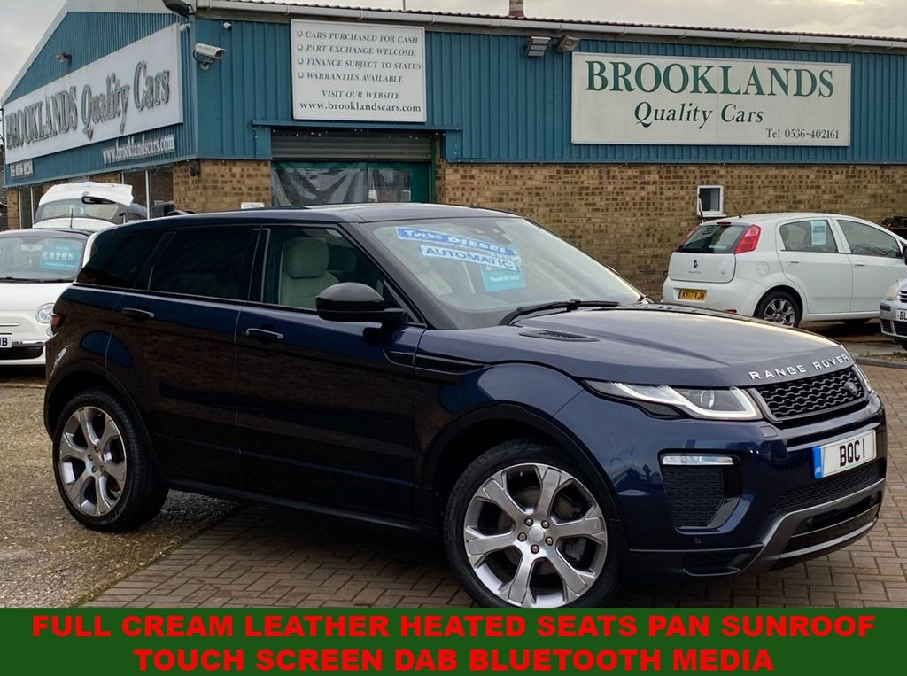 USED 2016 66 LAND ROVER RANGE ROVER EVOQUE 2.0 TD4 HSE DYNAMIC 5 Door Loire Blue Metallic 51400 miles 177 BHP Full Cream Leather Heated Seats Pan Sunroof Touch Screen DAB Bluetooth Media