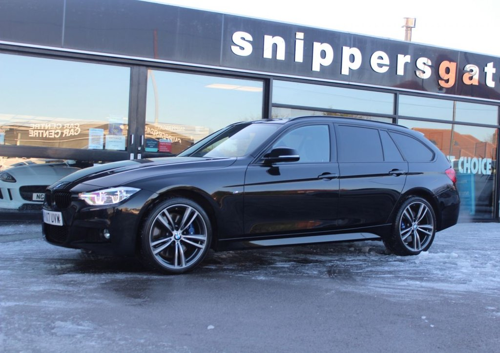 """USED 2017 17 BMW 3 SERIES 3.0 330D XDRIVE M SPORT TOURING Black Sapphire Metallic, 1 Previous Owner, Panoramic Glass Roof, Navigation System Professional, Harman Kardon Music System, Full Black Leather, Reversing Camera, Sun Protection Glass, Auto Dip Mirrors Electric Seats With Memory, Heated Sports Seats, 19"""" M Double Spoke Alloys, Tyre Pressure Display, M Sports Package, Black Roof Rails, Retractable Front Armrest, Park Distance Control, Rain Sensor, Cruise Control, LED Headlights, High Beam Assist, DAB Tuner. 2 Keys, Full Service History."""
