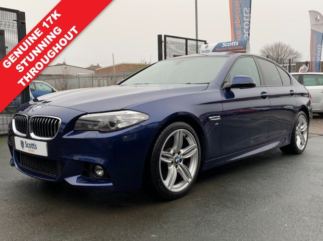 USED 2015 65 BMW 5 SERIES 2.0 520D M SPORT 4 DOOR BLUE DIESEL AUTOMATIC LOW TAX