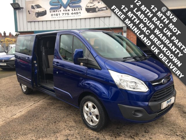 USED 2017 17 FORD TRANSIT CUSTOM METALIC BLUE 6 SEAT LWB LIMITED CREW CAB KOMBI WITH A/C *EURO 6* ENGINE