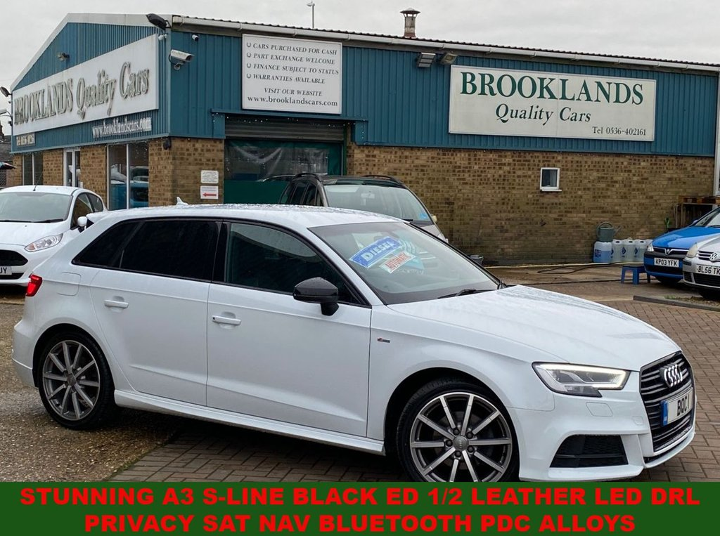 USED 2017 67 AUDI A3 2.0 TDI BLACK EDITION 5 DOOR GLACIER WHITE 36265 MILES 148 BHP STUNNING A3 S-LINE BLACK ED 1/2 LEATHER PRIVACY Sat Nav BLUETOOTH PDC ALLOYS