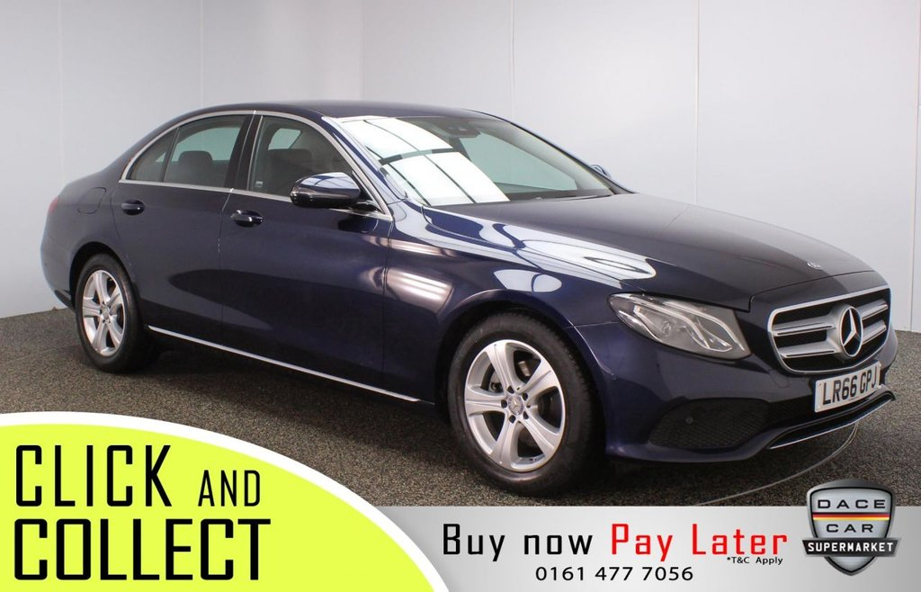 USED 2016 66 MERCEDES-BENZ E-CLASS 2.0 E 220 D SE 4DR 1 OWNER AUTO 192 BHP + FULL MAIN DEALER HISTORY + SAT NAV FULL SERVICE HISTORY + £20 12 MONTHS ROAD TAX + HEATED LEATHER SEATS + SATELLITE NAVIGATION + REVERSING CAMERA + PARKING SENSOR + BLUETOOTH + CRUISE CONTROL + CLIMATE CONTROL + MULTI FUNCTION WHEEL + DAB RADIO + ELECTRIC WINDOWS + ELECTRIC MIRRORS + 17 INCH ALLOY WHEELS