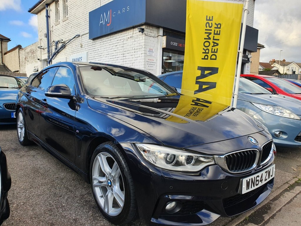 USED 2014 64 BMW 4 SERIES 2.0 420D M SPORT GRAN COUPE 4d 181 BHP FULL MAIN DEALER SERVICE HISTORY , LONG MOT UNTIL JAN 2022 WITH NO ADVISORIES , DUAL CLIMATE CONTROL, FRONT AND REAR PARKING SENSORS, REVERSING CAMERA, FULL LEATHER INTERIOR,  SAT NAV, ELECTRIC SUNROOF, MULTI DRIVING MODES ECO/SPORT, TRACTION CONTROL, HILL ASSIST, CRUISE CONTROL, AUTOMATIC WIPERS AND LIGHTS, STOP-START TECHNOLOGY, iDRIVE ENTERTAINMENT SYSTEM, BLUETOOTH PHONE CONNECTIVITY, VOICE CONTROL, DAB RADIO, MULTI FUNCTION STEERING WHEEL, M SPORT WHEEL, ELECTR