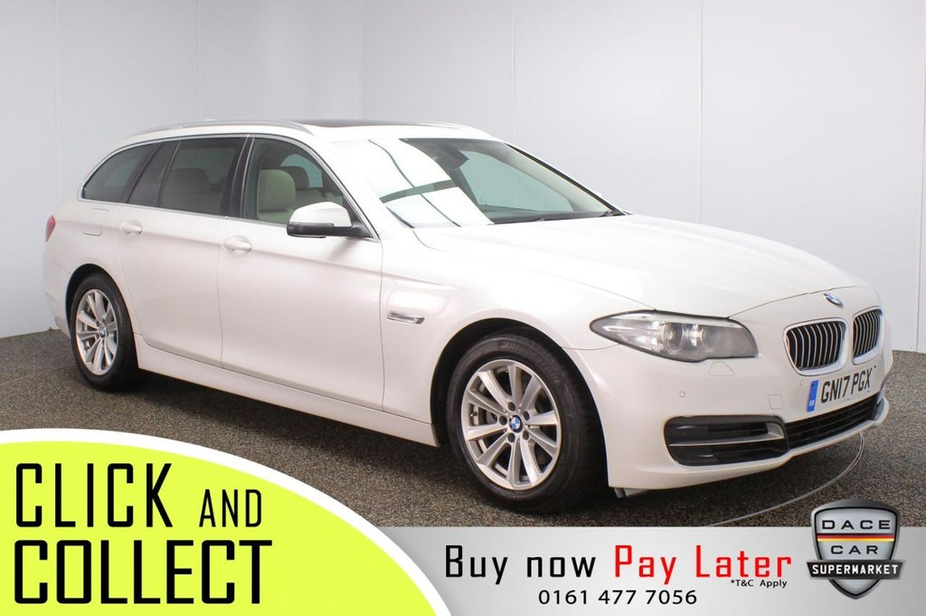 USED 2017 17 BMW 5 SERIES 2.0 520D SE TOURING 5DR 1 OWNER AUTO 188 BHP + PAN ROOF + FULL SERVICE HISTORY + LEATHER  FULL BMW SERVICE HISTORY + £30 12 MONTHS ROAD TAX + HEATED LEATHER SEATS + PANORAMIC ROOF + SATELLITE NAVIGATION + PARKING SENSOR + BLUETOOTH + CRUISE CONTROL + CLIMATE CONTROL + MULTI FUNCTION WHEEL + XENON HEADLIGHTS + PRIVACY GLASS + DAB RADIO + AUX/USB PORTS + ELECTRIC WINDOWS + ELECTRIC/HEATED DOOR MIRRORS + 17 INCH ALLOY WHEELS