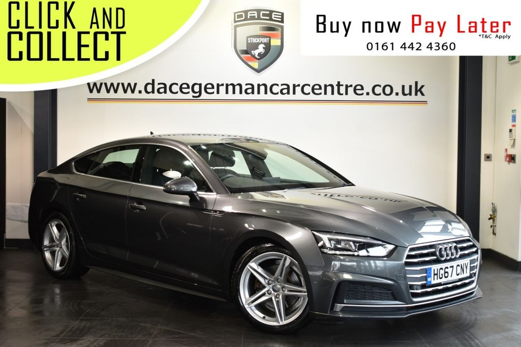 USED 2017 67 AUDI A5 2.0 SPORTBACK TDI S LINE 5DR AUTO 148 BHP Finished in a stunning metallic grey styled with alloy wheels. Upon entry you are presented with black half leather interior, full service history, bluetooth, cruise control, multi function steering wheel, parking sensors, climate control, sport seats, electric door mirrors