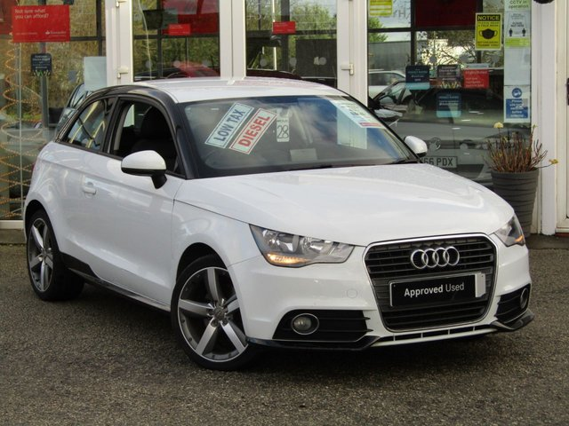 "USED 2012 62 AUDI A1 1.6 TDI CONTRAST EDITION 3d 105 BHP Finished in GLACIER WHITE with contrasting SPORTS cloth trim. This Audi A1 Special Edition is a posh small car that is comfortable, practical, fun and great to drive. If you're looking for a small, easy-to-drive car but don't want to compromise on quality, then this car is well worth a look. Features include Zero road tax, 17"" Alloys, A/Con,  B/Tooth and much more. Dealer Serviced at 13778 miles, 44076 miles, 60876 miles (Cam Belt and Water Pump), and at 75706 miles. 12 Months MOT."