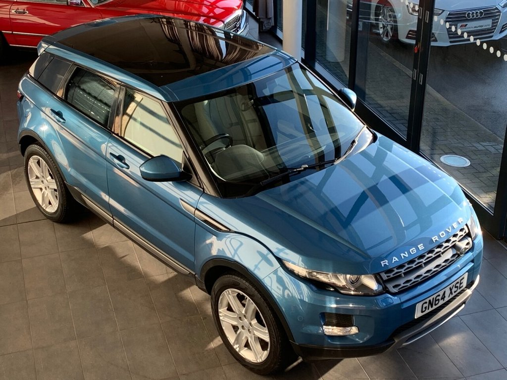 USED 2014 64 LAND ROVER RANGE ROVER EVOQUE 2014/64 + 2.2 SD4 PURE TECH 5d 190 BHP + BLUE MET + 4WD + AUTOMATIC + PAN ROOF + LEATHER + PDC