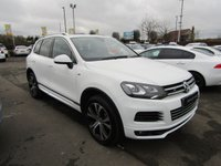 USED 2014 14 VOLKSWAGEN TOUAREG 3.0 V6 R-LINE TDI BLUEMOTION TECHNOLOGY 5d 202 BHP SAT/NAV, HEATED LEATHER, BLUETOOTH, TINTED GLASS, DIAMOND CUT ALLOYS,  AUTOMATIC