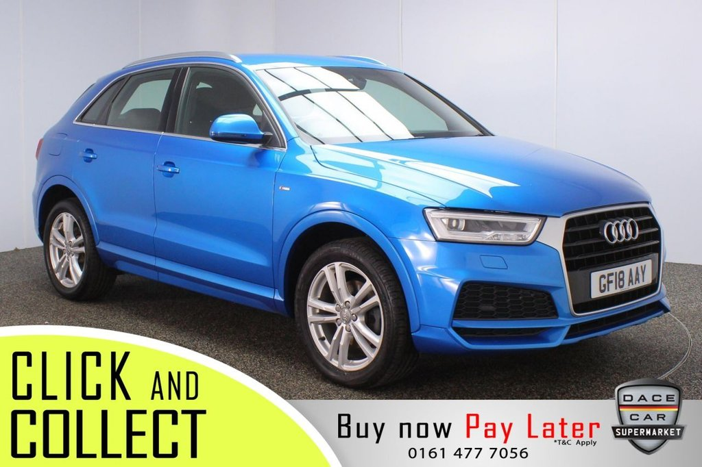 USED 2018 18 AUDI Q3 1.4 TFSI S LINE EDITION 5DR 1 OWNER 148 BHP + FULL SERVICE HISTORY + SAT NAV + LEATHER SERVICE HISTORY + HALF LEATHER SEATS + SATELLITE NAVIGATION + PARKING SENSOR + BLUETOOTH + CRUISE CONTROL + CLIMATE CONTROL + MULTI FUNCTION WHEEL + XENON HEADLIGHTS + DAB RADIO + ELECTRIC WINDOWS + ELECTRIC/HEATED/FOLDING DOOR MIRRORS + 18 INCH ALLOY WHEELS
