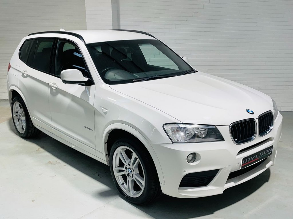 USED 2012 62 BMW X3 2.0 XDRIVE20D M SPORT 5d 181 BHP Alpine White with Black Leather Interior, Widescreen Nav, 19in Wheels, Privacy Glass, Heated Seats