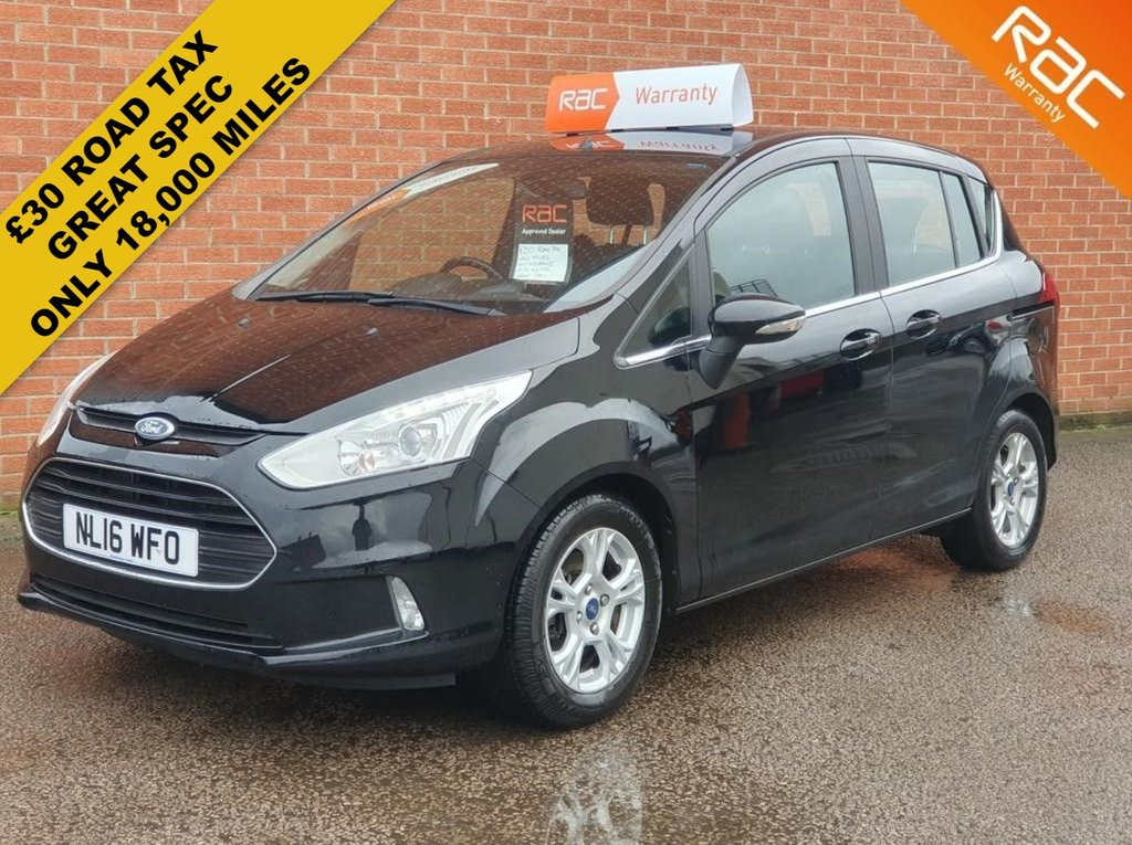 USED 2016 16 FORD B-MAX 1.0 ZETEC 5d 100 BHP CITY PACK LONG MOT - READY TO GO - LOW MILES - GREAT SPEC - £30 ROAD TAX