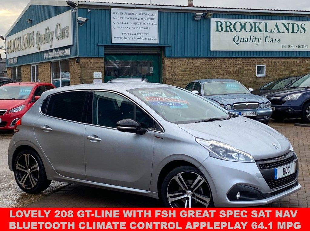 USED 2018 68 PEUGEOT 208 1.2 S/S GT LINE 5 DOOR CUMULUS GREY ONLY 11293 MILES 110 BHP Lovely 208 GT-LINE FSH Great Spec SAT NAV Bluetooth Climate Control APPLEPLAY