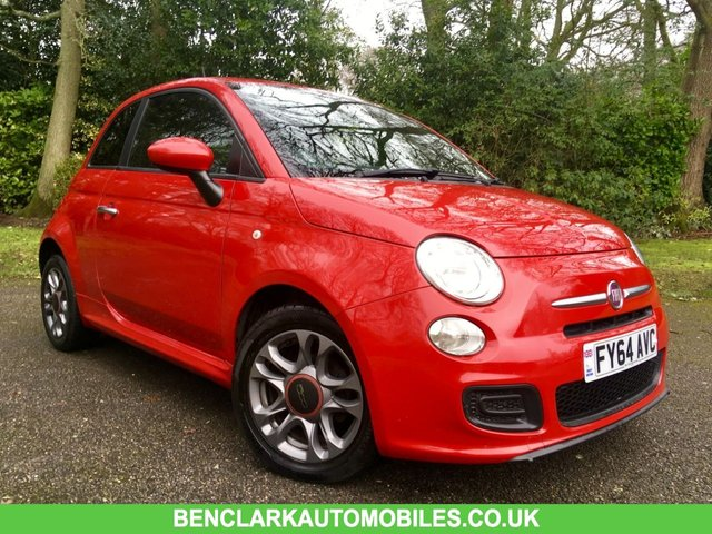 2014 64 FIAT 500 1.2 S 3d 69 BHP CARBON LOOK ALLOYS/AIRCON/REAR SPOILER/REAR PARK ASSIST/CAMBELT&WATERPUMP RENEWED/HALF LEATHER WITH RED TRIM/£30 ROAD TAX