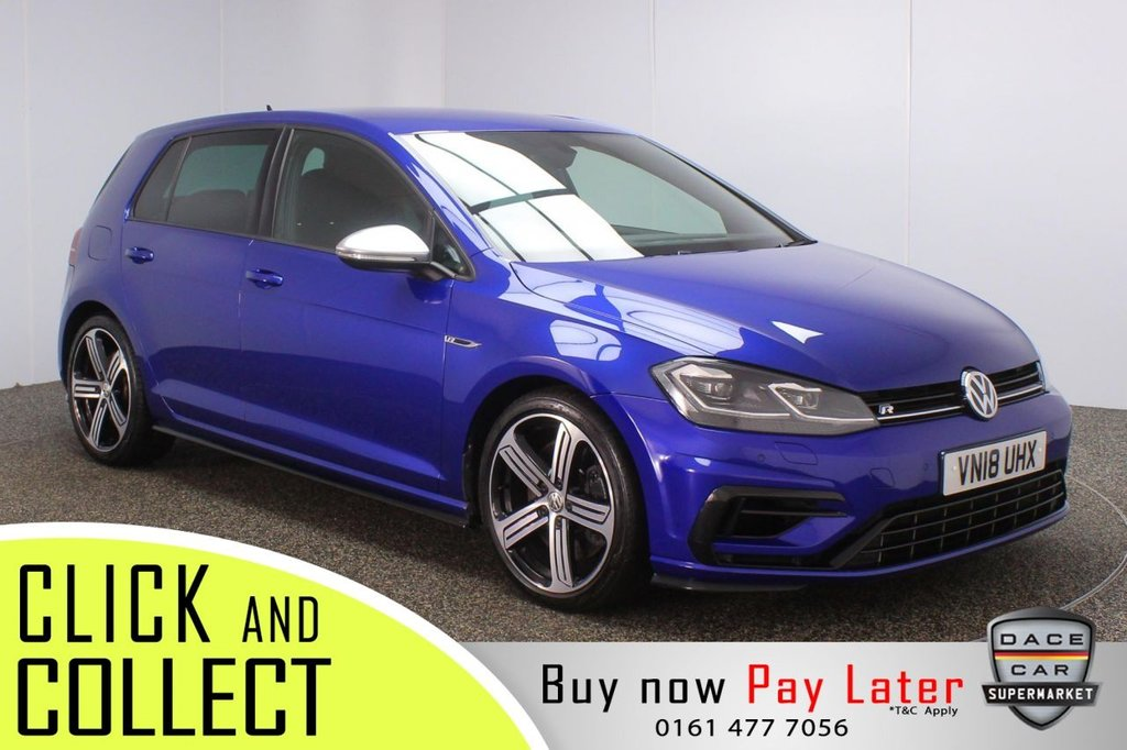 USED 2018 18 VOLKSWAGEN GOLF 2.0 R TSI DSG 5DR 1 OWNER AUTO 306 BHP SAT NAV + 1 OWNER + FULL SERVICE HISTORY FULL SERVICE HISTORY + VIRTUAL COCKPIT + HEATED FRONT SEATS + SATELLITE NAVIGATION + PARKING SENSOR + LED HEADLIGHTS + BLUETOOTH + CRUISE CONTROL + CLIMATE CONTROL + MULTI FUNCTION WHEEL + PRIVACY GALASS + DAB RADIO + AUX/USB/SD PORTS + ELECTRIC WINDOWS + ELECTRIC/HEATED/FOLDING DOOR MIRRORS + 18 INCH ALLOY WHEELS