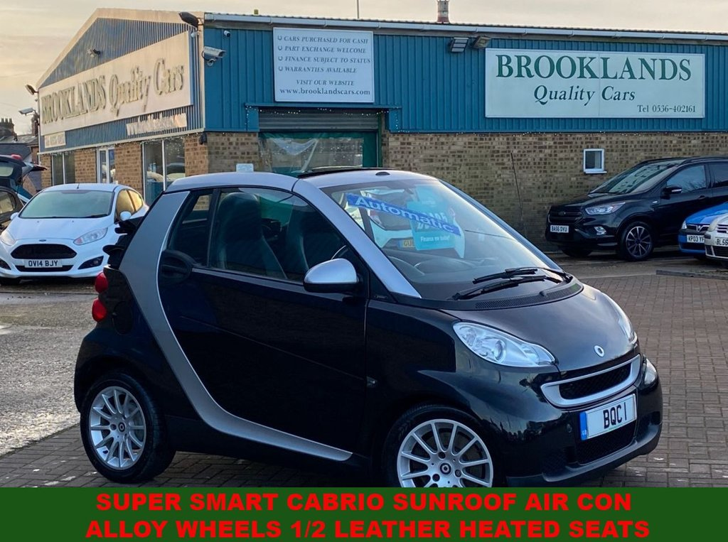 USED 2008 58 SMART FORTWO CABRIO 1.0 PASSION 2 DOOR BLACK/SILVER 42416 MILES 70 BHP SUPER SMART CABRIO SUNROOF AC ALLOY WHEELS 1/2 LEATHER HEATED SEATS