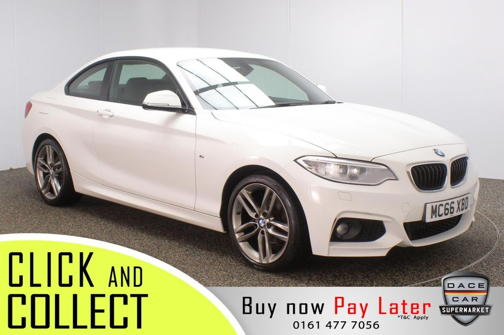USED 2017 66 BMW 2 SERIES 1.5 218I M SPORT 2DR 1 OWNER 134 BHP SATELLITE NAVIGATION + PARKING SENSOR + BLUETOOTH + MULTI FUNCTION WHEEL + AIR CONDITIONING + XENON HEADLIGHTS + DAB RADIO + ELECTRIC WINDOWS + ELECTRIC MIRRORS + 18 INCH ALLOY WHEELS
