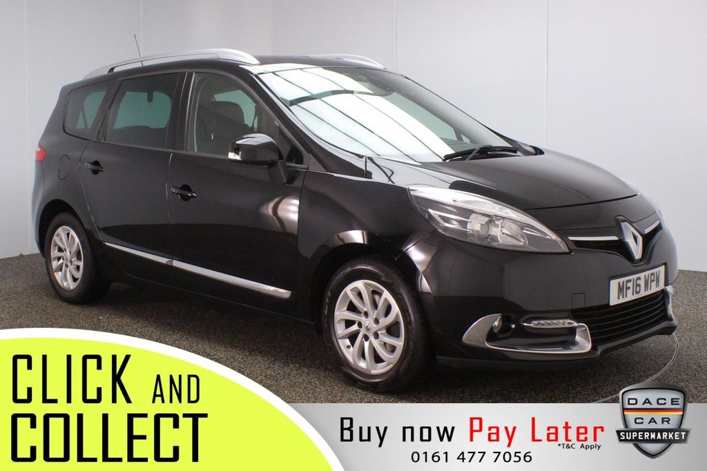 USED 2016 16 RENAULT GRAND SCENIC 1.5 DYNAMIQUE NAV DCI 5DR 1 OWNER 110 BHP FULL SERVICE HISTORY + £20 12 MONTHS ROAD TAX + 7 SEATS + HALF LEATHER SEATS + SATELLITE NAVIGATION + PARKING SENSOR + BLUETOOTH + CRUISE CONTROL + CLIMATE CONTROL + MULTI FUNCTION WHEEL + XENON HEADLIGHTS + PRIVACY GLASS + AUX/USB PORTS + ELECTRIC WINDOWS + ELECTRIC/HEATED DOOR MIRRORS + 16 INCH ALLOY WHEELS