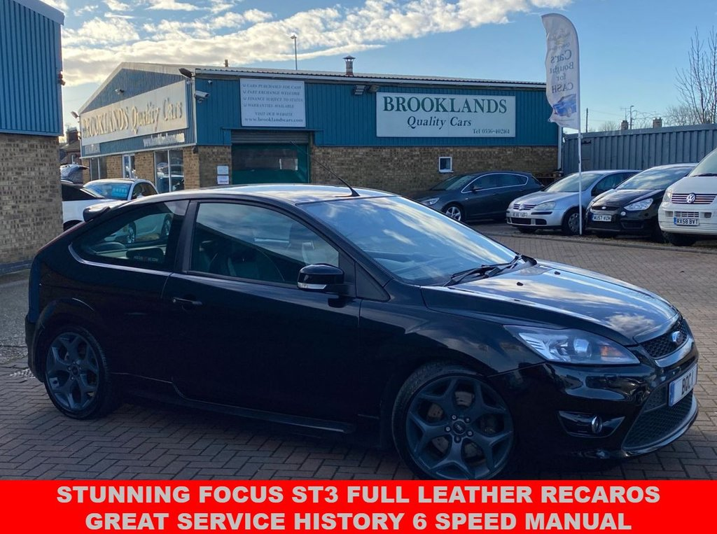USED 2008 08 FORD FOCUS 2.5 ST-3 3d 223 BHP PANTHER BLACK METALLIC FULL LEATHER Stunning FOCUS ST3 Full Leather Great Service History 6 Speed Manual