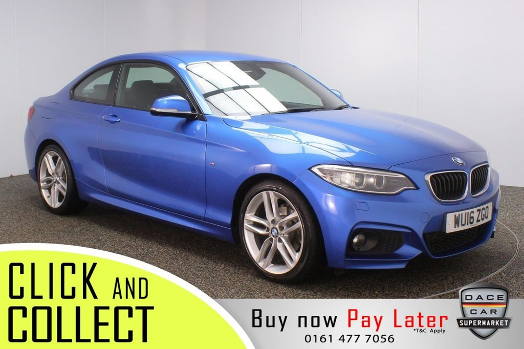 USED 2016 16 BMW 2 SERIES 2.0 218D M SPORT 2DR 148 BHP FULL SERVICE HISTORY + £30 12 MONTHS ROAD TAX + SATELLITE NAVIGATION + PARKING SENSOR + BLUETOOTH + MULTI FUNCTION WHEEL + AIR CONDITIONING + XENON HEADLIGHTS + DAB RADIO + AUX/USB PORTS + ELECTRIC WINDOWS + ELECTRIC/HEATED DOOR MIRRORS + 18 INCH ALLOY WHEELS