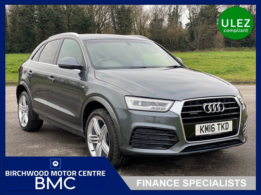 USED 2016 16 AUDI Q3 2.0 TDI QUATTRO S LINE PLUS 5d 182 BHP, AUTOMATIC, Ulez Compliant, JUST 54,815m With FSH,  LEATHER/SUEDE, SAT NAV, BLUETOOTH, CRUISE CONTROL, HEATED SEATS, PARKING SENSORS, IMMACULATE THROUGHOUT