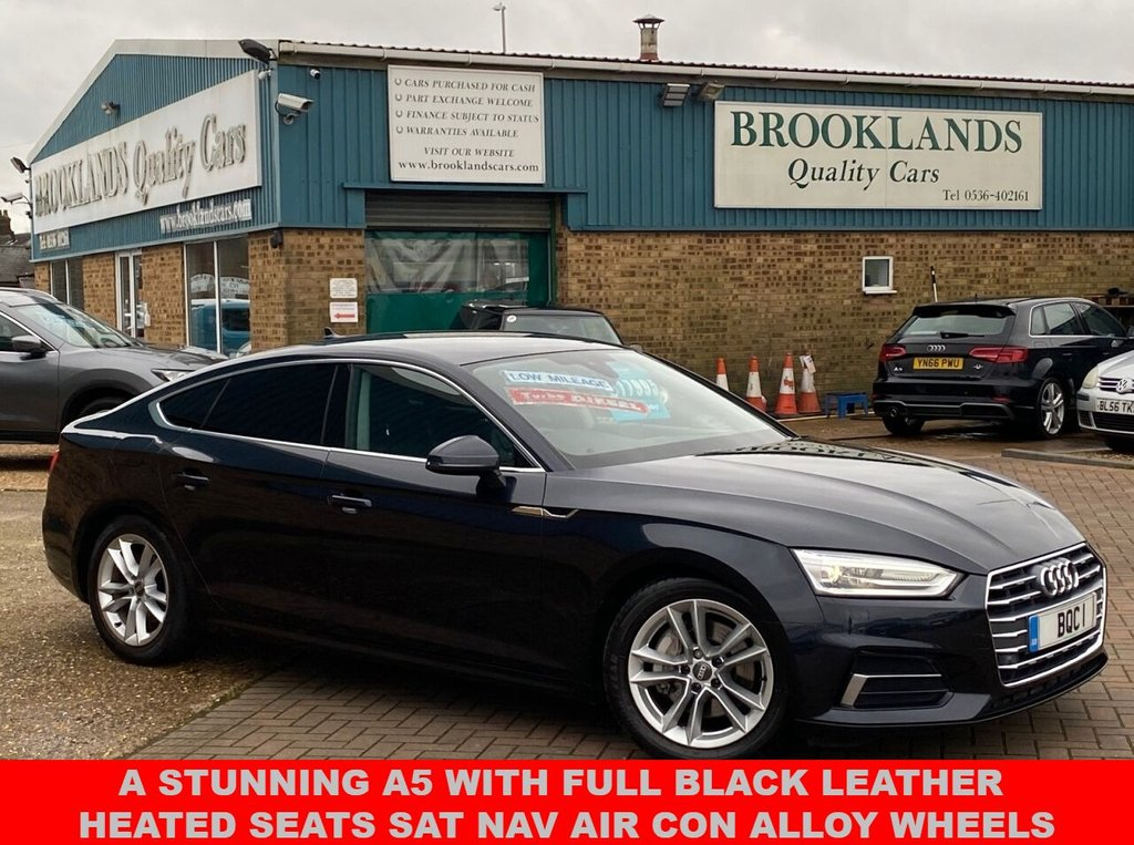 USED 2017 17 AUDI A5 2.0 SPORTBACK TDI ULTRA SPORT 5 Door 26844 miles Moonlight Blue Met. 190 BHP A Stunning A5 With Full Black Leather Heated Seats Sat Nav Air Con Alloy Wheels
