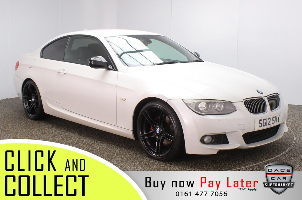 USED 2012 12 BMW 3 SERIES 2.0 320D SPORT PLUS EDITION 2DR 181 BHP FULL SERVICE HISTORY + HEATED LEATHER SEATS + SATELLITE NAVIGATION + PARKING SENSOR + BLUETOOTH + CRUISE CONTROL + CLIMATE CONTROL + MULTI FUNCTION WHEEL + PART ELECTRIC FRONT SEATS + XENON HEADLIGHTS + PRIVACY GLASS + AUX/USB PORTS + ELECTRIC WINDOWS + ELECTRIC/HEATED/FOLDING DOOR MIRRORS + 19 INCH ALLOY WHEELS IN BLACK