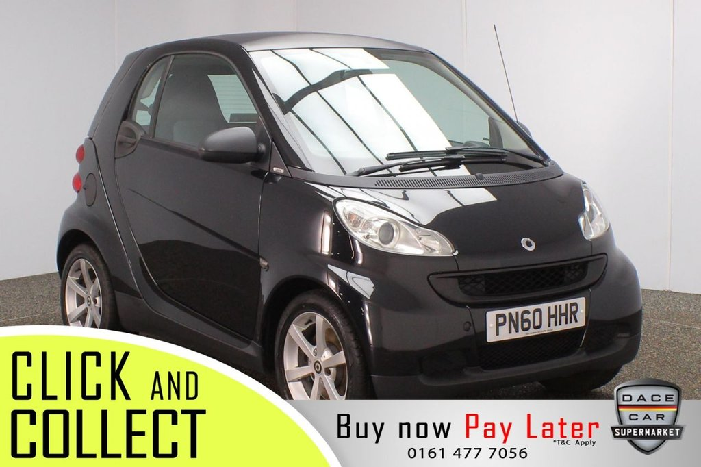 USED 2010 60 SMART FORTWO 1.0 PULSE MHD 2DR 71 BHP FULL SERVICE HISTORY + £20 12 MONTHS ROAD TAX + HEATED LEATHER SEATS + SATELLITE NAVIGATION + DOUBLE SUNROOF + PARKING SENSOR + BLUETOOTH + CRUISE CONTROL + CLIMATE CONTROL + MULTI FUNCTION WHEEL + PRIVSCY GLASS + ELECTRIC WINDOWS + ELECTRIC MIRRORS + 16 INCH ALLOY WHEELS