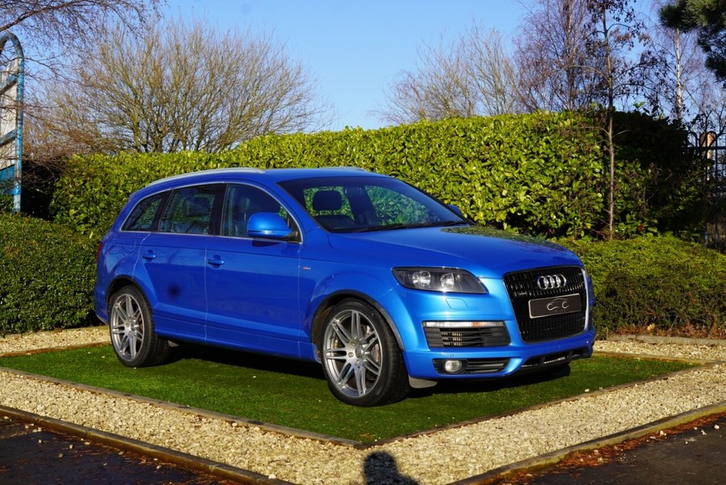 USED 2008 AUDI Q7 4.1 TDI QUATTRO S LINE 5d 326 BHP The Audi Q7 is Big, Bold and Imposing, There are Very Few Other Family SUVs that Command the on Road Respect of the Q7. Powered by the Mighty 4.2 Litre V8 achieving a 0-60 time of just 6.4 seconds. The Exterior is Presented in Sprint Blue, Striking and Something Unusual, with Colour Coded Bumpers, Multi-Spoke Alloy Wheels and Twin Tailpipes. The Interior has the Subtle Styling Nuances of the S-Line with the Lettering Embossed in the Seats, Badges to the Steering Wheel and Over Mats.
