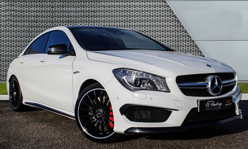 USED 2015 64 MERCEDES-BENZ CLA 2.0 CLA45 AMG 4MATIC 4d 360 BHP **PAN ROOF/WHITE/BLACK PACK**