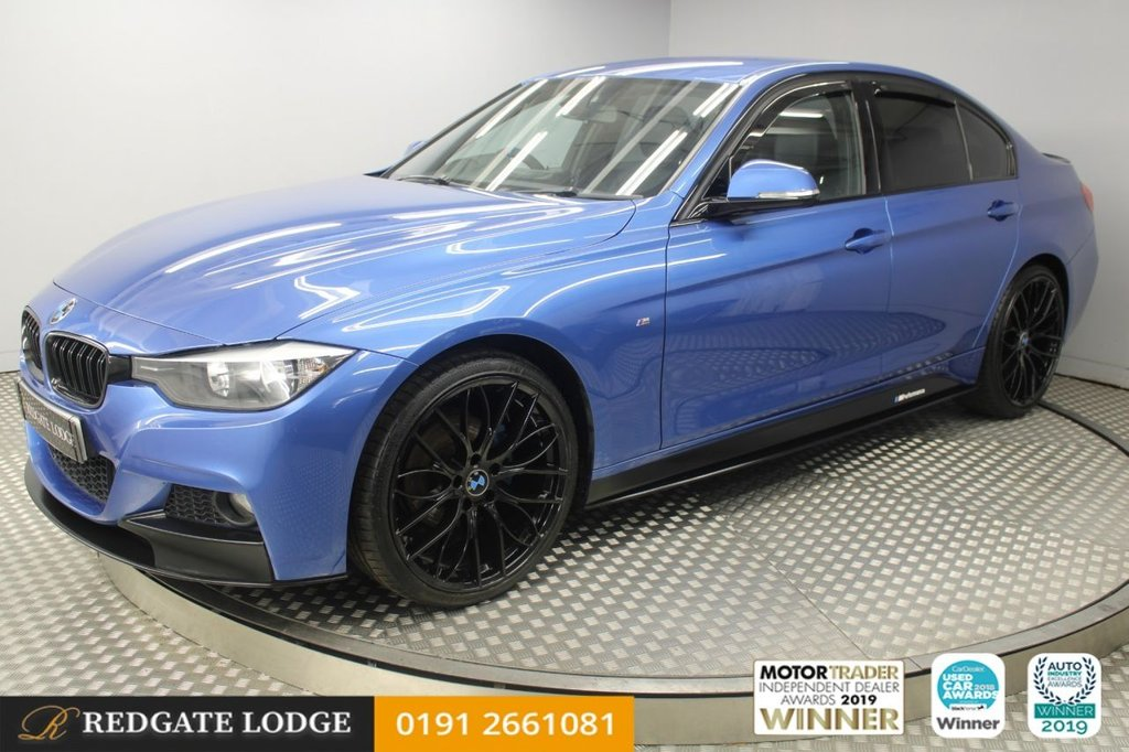 USED 2015 65 BMW 3 SERIES 2.0 318D M SPORT 4d 141 BHP PRO SAT/NAV, HEATED LEATHER, BLUETOOTH, DAB, TINTED GLASS, SPORTS KIT, REVERSE CAMERA, UPGRADED FRESHLY POWDER COATED GLOSS BLACK ALLOYS